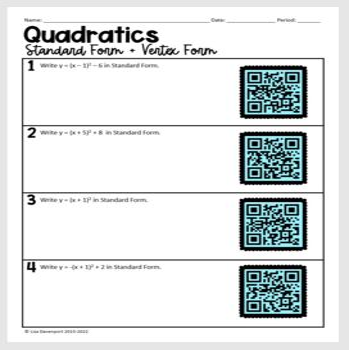 Writing Quadratics in Standard & Vertex Form (QR Code Prac