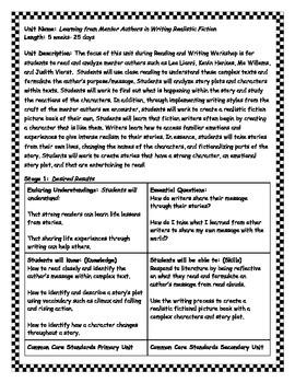 Writing Realistic Fiction Unit (Leo Lionni and Kevin Henke