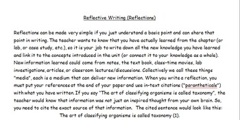 Writing Reflections, with 4 Sample Lessons, Rubrics Included