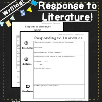 Writing Response to Literature for 4th, 5th, 6th grade