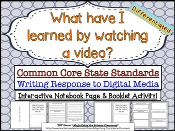 Writing Response to Videos - Common Core CCSS