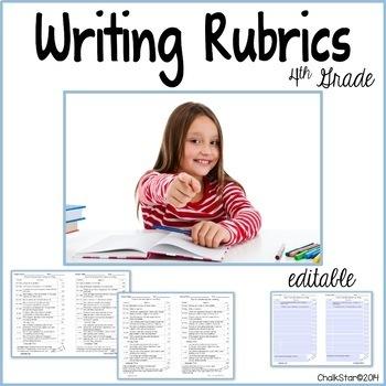 Writing Rubrics Fourth Grade Editable
