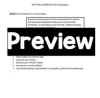 Writing STAAR Expository Prompt Practice: Winter Break