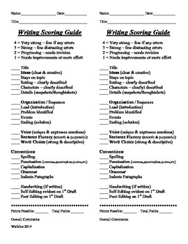 Writing Scoring Guide - Quick 1/2 Sheet