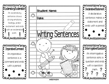Writing Sentences Foldable