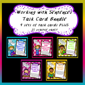 Sentences Task Card Bundle -  Subjects, Predicates, Run-On