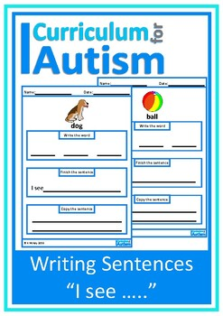 """Autism, Writing Sentences Picture Prompts,""""I see"""", Special"""