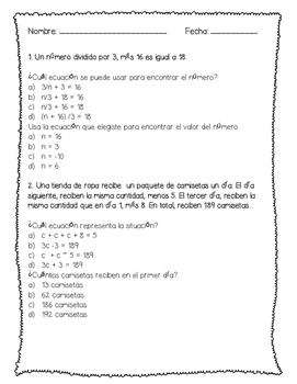 Writing & Solving Algebraic Equations Spanish: Ecuaciónes