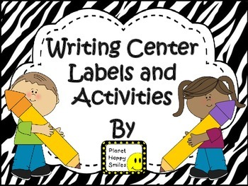 Writing Station Labels and Activities ~ Zebra Print