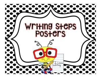 Writing Steps Posters--Bees {Black and White Backgrounds}