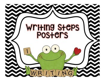 Writing Steps Posters--Frogs {Black and White Backgrounds}