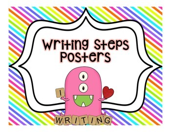 Writing Steps Posters--Monsters {Color Backgrounds}