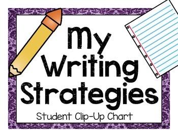 Writing Strategies Clip Chart (Kindergarten: Purple, Green, Blue)