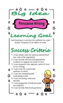 Writing Strategy Poster: Persuasive Writing - Learning Goa