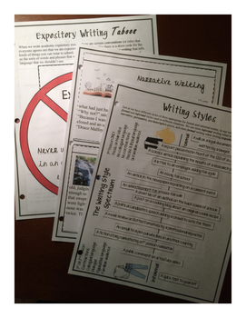 Writing Styles Foldable Lessons with Answer Keys