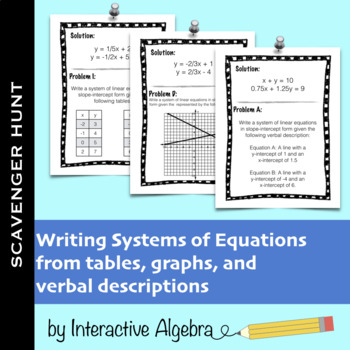 Writing Systems of Equations Scavenger Hunt (Table/Graph/V