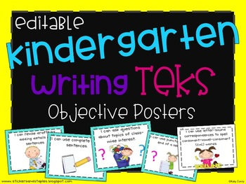 Writing TEKS Posters for Kindergarten
