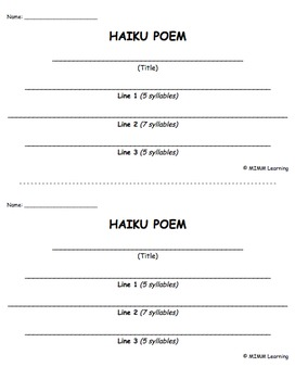 Writing Template - Haiku Poem