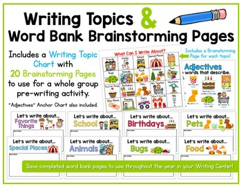 Writing Topics & Word Bank Brainstorming Pages - What Can