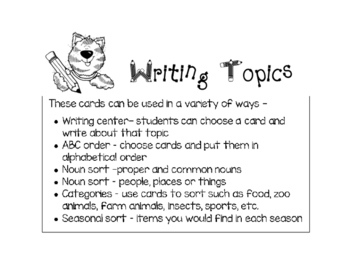 Writing Topics for the Year - black and white version