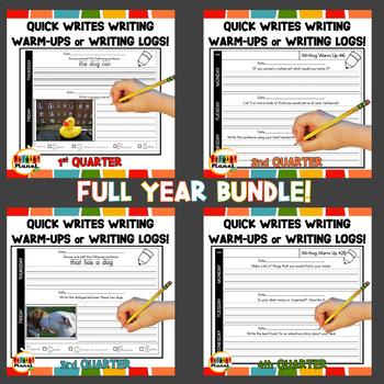 Writing Warm Ups Writing Logs Full Year Bundle!