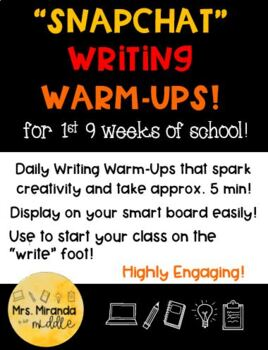 Writing Warm-Ups for the 1st 9 Weeks!