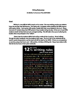 Writing Wednesday Curriculum Outline