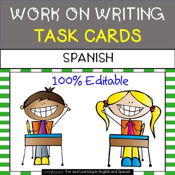Writing (Work on Writing) Task Cards in SPANISH - EDITABLE