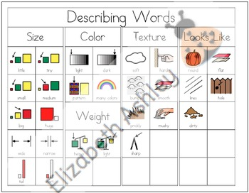 Writing Workshop Describing Words Chart Set #2