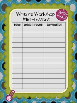Writing Workshop Lesson Tracker