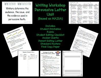 Writing Workshop Persuasive Letter Unit