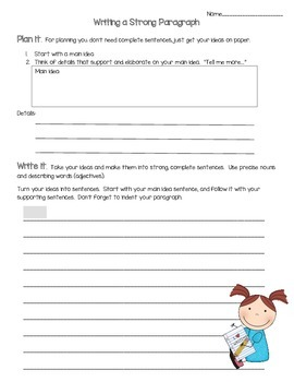 Writing a Paragraph-Main Idea and Details