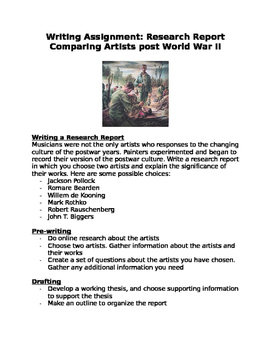 Writing a Research Assignment: Comparing Artists post Worl