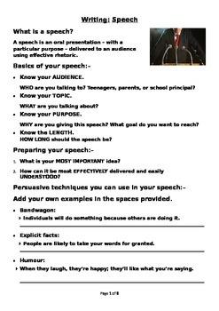 Writing a speech BUNDLE (Editable)