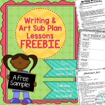 Writing and Art Sub Plan Freebie
