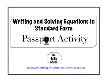 Writing and Solving Equations in Standard Form Passport Activity