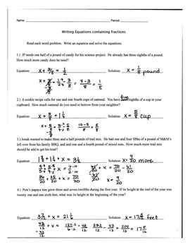 Writing and Solving Equations with Fractions