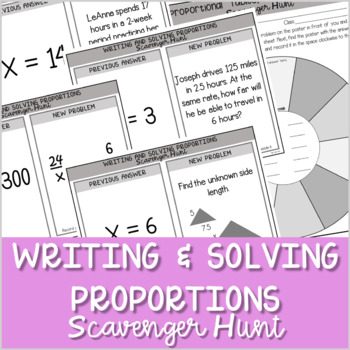 Writing and Solving Proportions Scavenger Hunt ~Aligned to