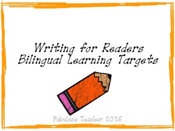 Writing for Readers Kindergarten Bilingual Learning Targets