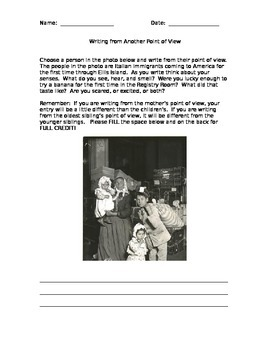 Writing from an Immigrant's Point of View - Ellis Island