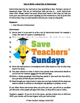 Writing instructions - Instructions on ... writing instructions