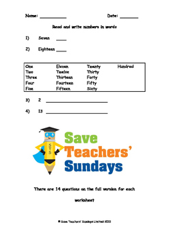 Writing numbers in words  lesson plans, worksheets and mor