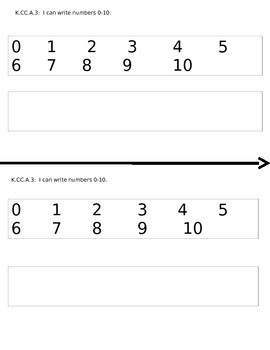 Writing numbers math journal