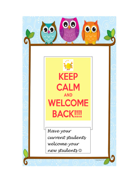 Writing paper-End of the Year Welcome Letter to Upcoming S