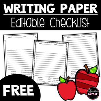 Writing paper with writing checklist