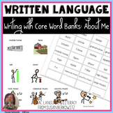 Writing with Word Banks - About Me Topic Words - Emergent