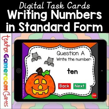 Writing Numbers in Standard Form Halloween Digital Task Cards
