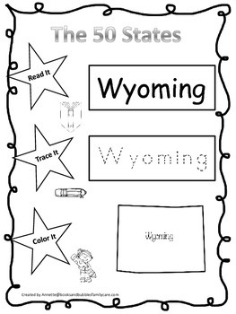 Wyoming Read it, Trace it, Color it Learn the States presc