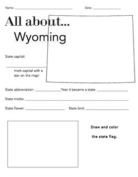 Wyoming States Facts Worksheet: Elementary Version