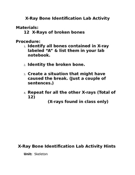 X-ray Bone Identification Lab Activity